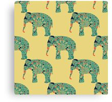 seamless pattern with the patterned elephants Canvas Print