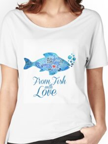 Watercololor patterned fish blue illustration with the red heart inside Women's Relaxed Fit T-Shirt