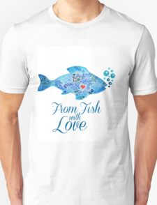 Watercololor patterned fish blue illustration with the red heart inside T-Shirt