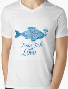 Watercololor patterned fish blue illustration with the red heart inside Mens V-Neck T-Shirt