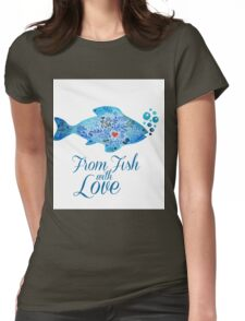Watercololor patterned fish blue illustration with the red heart inside Womens Fitted T-Shirt