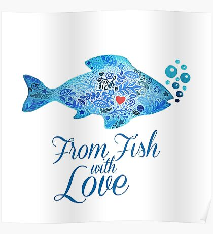 Watercololor patterned fish blue illustration with the red heart inside Poster