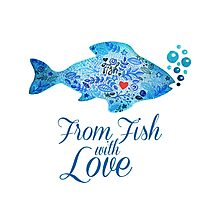 Watercololor patterned fish blue illustration with the red heart inside Photographic Print