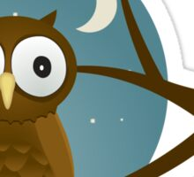 Big Eyed Owl Perched On A Branch T Shirt Sticker
