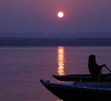 Ganges River sunset by BronReid