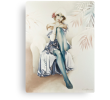 """Blue Ice"" Portrait in Oils Canvas Print"