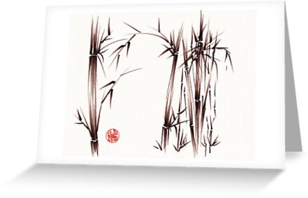 """""""garden of dreams"""" sumi-e ink brush pen drawing on paper by Rebecca Rees"""