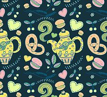 Tea party seamless pattern by julkapulka