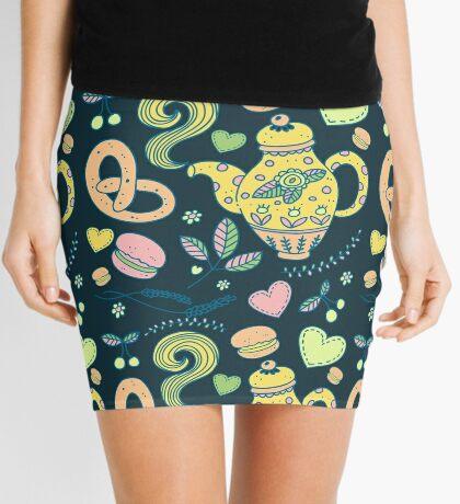 Tea party seamless pattern Mini Skirt