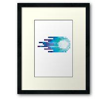 Blue pixel Fireball Framed Print