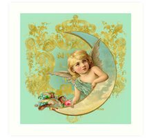 Luna Angel print, vintage moon, bird, angel mint green Art Print