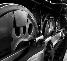 Steam Train Wheels in Black and White by Douglas E.  Welch