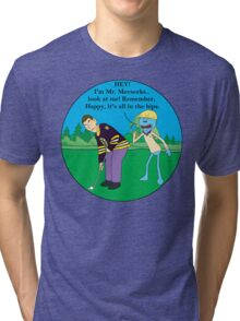 Mr. Meeseeks Happy Gilmore Parody Tri-blend T-Shirt