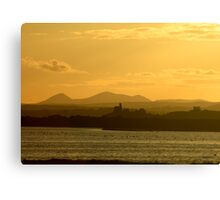Twilight over Derryveagh mountains - with O'Doherty Castle from Inch Level Canvas Print