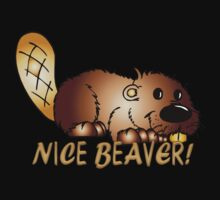 Nice Beaver T Shirt With Cartoon Beaver by Moonlake