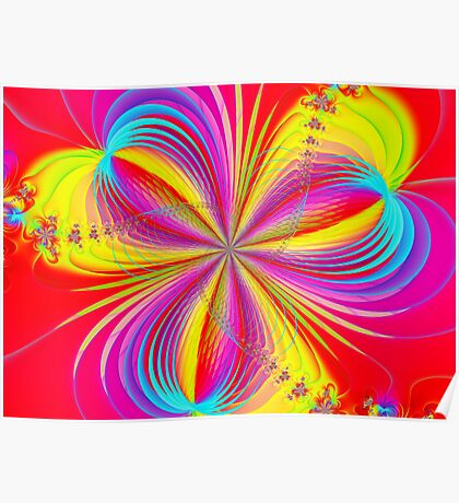 Red Colorful Flower Ribbons Poster