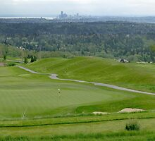 Golf Course with Seattle Skyline by Stacey Lynn Payne