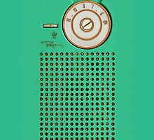 Retro geek green Transistor Radio cell phone case by Glimmersmith