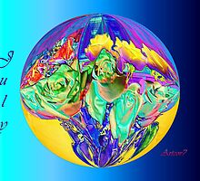 July Globe of Digital Roses  by artcor7
