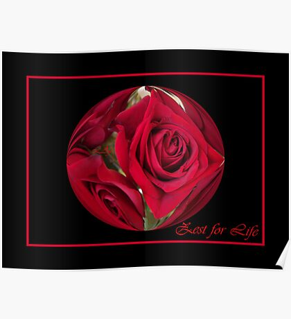 Red Roses Zest for Life Poster