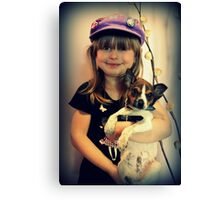 Portrait ~ Girl And Dog ~ Canvas Print
