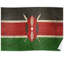 Old and Worn Distressed Vintage Flag of Kenya Poster