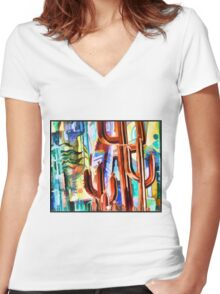 Cactus Sculptures Women's Fitted V-Neck T-Shirt