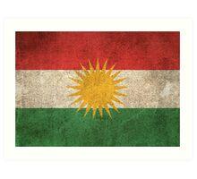 Old and Worn Distressed Vintage Flag of Kurdistan Art Print