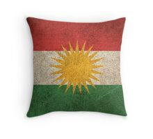 Old and Worn Distressed Vintage Flag of Kurdistan Throw Pillow