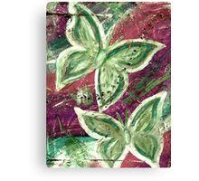 Golden Green, Purple Stream Butterflies Canvas Print