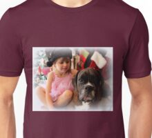 Girl And Dog Portrait - Boxer Dogs Series Unisex T-Shirt