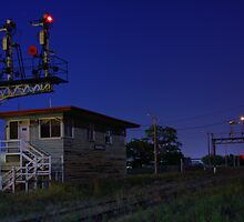Wodonga at Night (Signal box) by John Vandeven