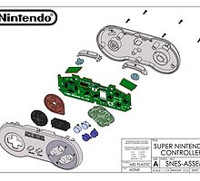 Exploded SNES Controller Colored Schematic by tigglebitties