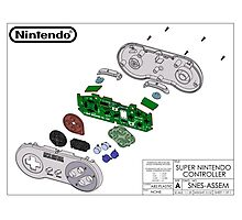 Exploded SNES Controller Colored Schematic Photographic Print