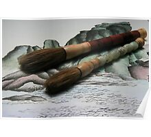 Chinese Ink Brushes on Mountain Background Poster