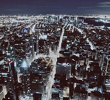 Manhattan Night Scene from the Top of the Empire State Building by yiuphotography