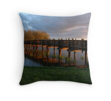 Park Bridge Sunset Throw Pillow