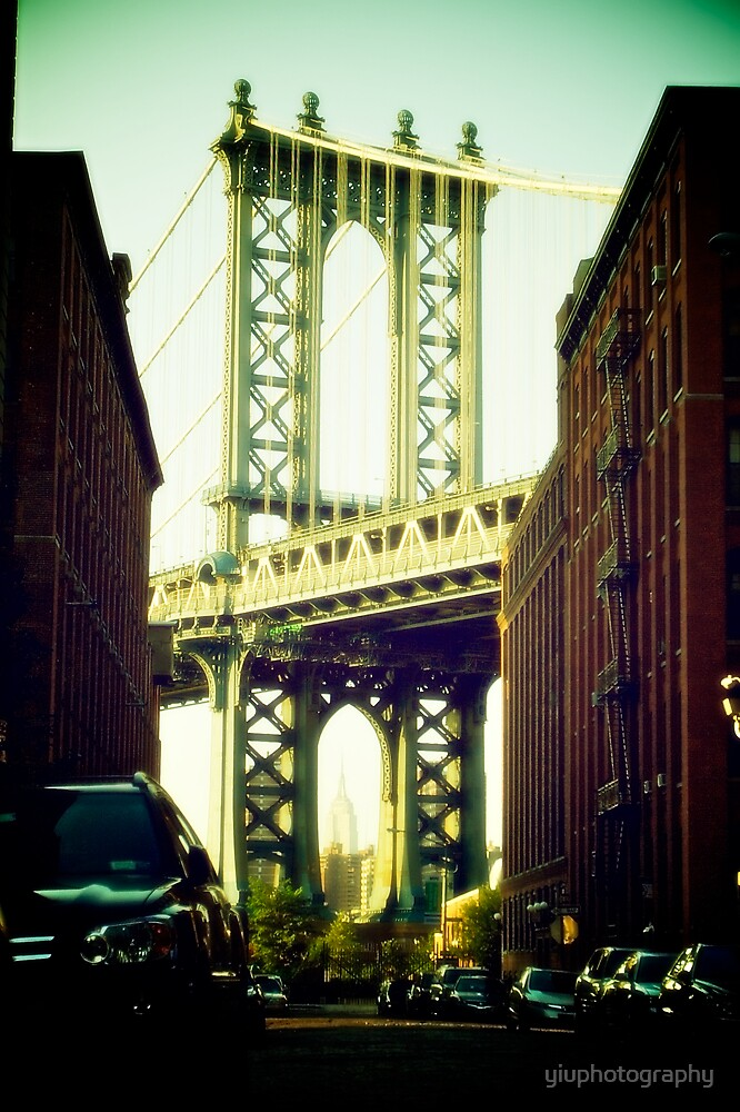 Manhattan Bridge from Brooklyn Bridge Part Area by yiuphotography