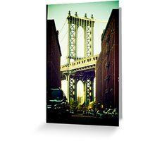 Manhattan Bridge from Brooklyn Bridge Part Area Greeting Card