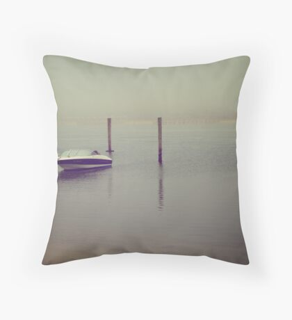 Speed Boat Docked by the Pier. Martha's Vineyard Throw Pillow