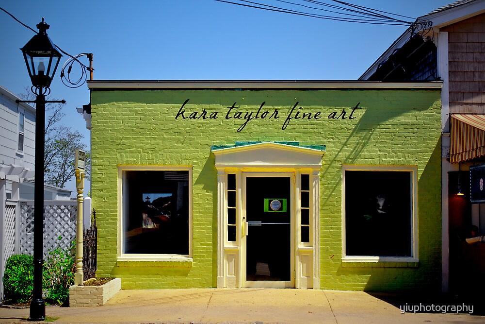 Fine Art Shop at Oak Bluffs Martha's Vineyard. Green Facade. by yiuphotography