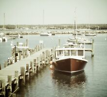 Red Fishing Boat Docked by the Pier. Martha's Vineyard by yiuphotography