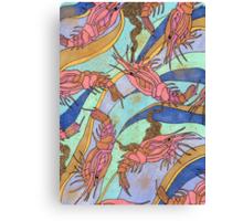 Pink shrimp pattern Canvas Print