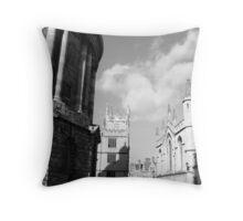oxford scene (black & white) Throw Pillow