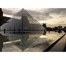 Paris - Louvre Pyramid Reflecting in the Fountain's Pool Photographic Print