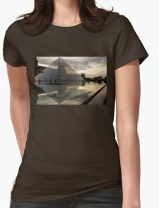 Paris - Louvre Pyramid Reflecting in the Fountain's Pool Womens Fitted T-Shirt