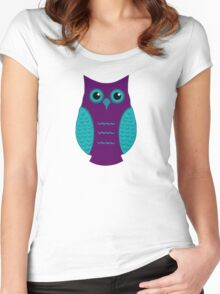 Purple and Aqua Owl (on green) Women's Fitted Scoop T-Shirt