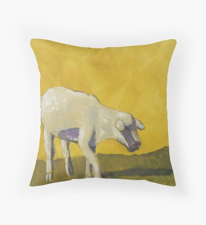 Golden Lamb Throw Pillow