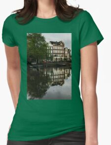 Amsterdam Canal Houses in the Rain Womens Fitted T-Shirt