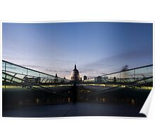 Even the Clouds Aligned with St Paul's Cathedral and the Millennium Bridge in London, UK Poster